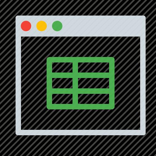 application, csv, interface, spreadsheet, table, window icon