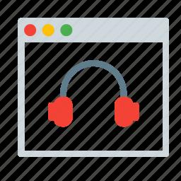 application, audio, headphone, interface, music, window icon