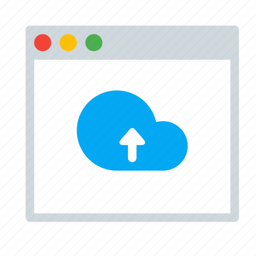 application, arrow, cloud, interface, up, window icon