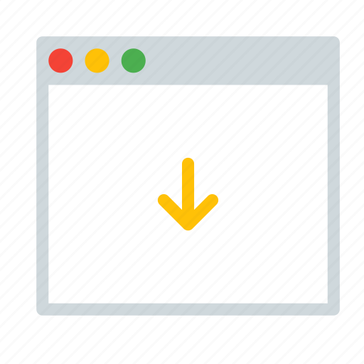 application, arrow, down, interface, window icon
