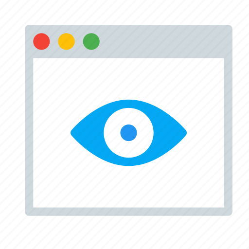 application, eye, interface, read, view, window icon