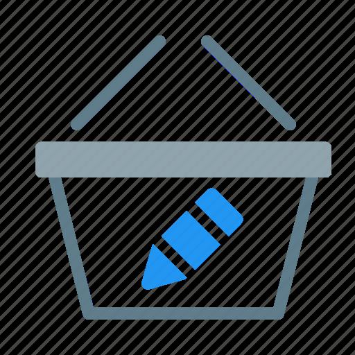 basket, buy, edit, pen, shop, shopping icon