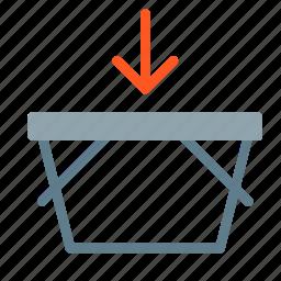 add, arrow, basket, buy, shop, shopping icon
