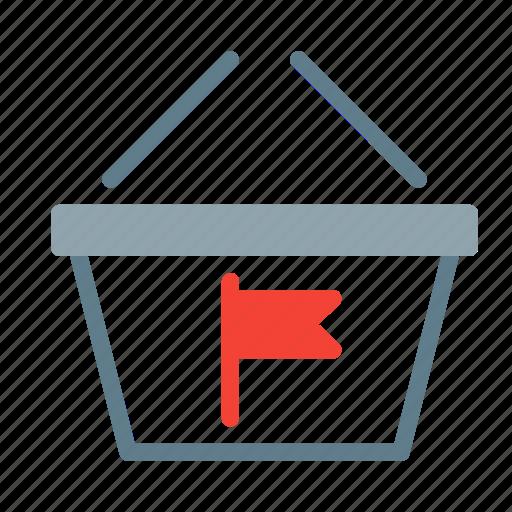 basket, buy, flag, mark, shop, shopping icon