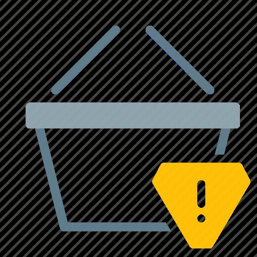alert, basket, buy, shop, shopping, warning icon