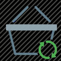 basket, buy, shop, shopping, sync icon