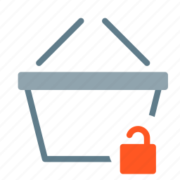 basket, buy, secure, shop, shopping, unlock icon
