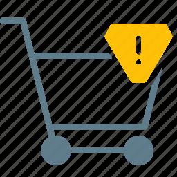 alert, buy, cart, shopping, trolley, warning icon