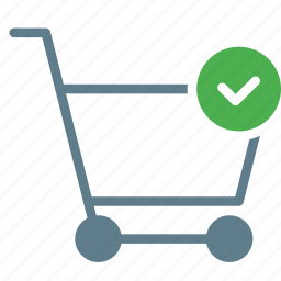 buy, cart, checkmark, done, shopping, trolley icon
