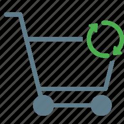 buy, cart, shopping, sync, trolley icon