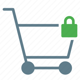 buy, cart, lock, secure, shopping, trolley icon