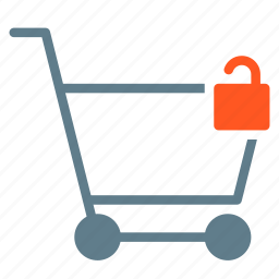 buy, cart, secure, shopping, trolley, unlock icon