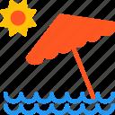 beach, outdoor, sea, summer, sun, travel, umbrella