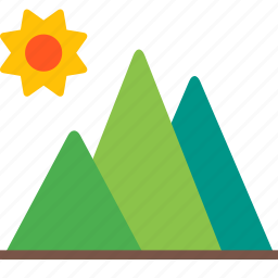 landscape, mountain, outdoor, summer, sun, travel icon