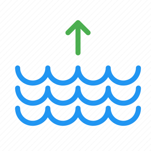 arrow, forecast, tide, up, water, weather icon