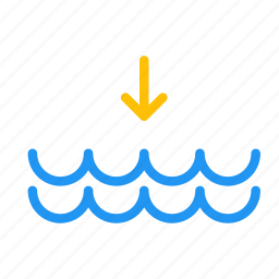 arrow, down, forecast, tide, water, weather icon
