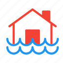 disaster, flood, forecast, house, weather icon