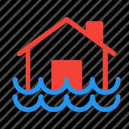 disaster, flood, forecast, house, weather icon
