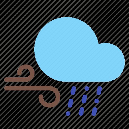 cloud, forecast, rain, sleet, weather, wind icon
