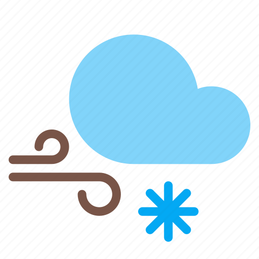 cloud, forecast, gust, snow, weather, wind icon