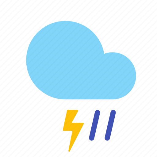 cloud, forecast, lightning, rain, storm, weather icon