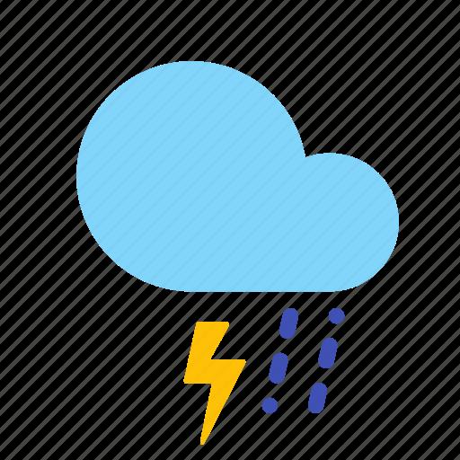 cloud, forecast, lightning, rain, sleet, storm, weather icon