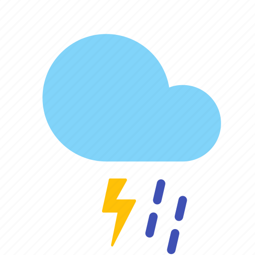 cloud, forecast, lightning, rain, shower, thunderstorm, weather icon
