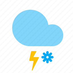 cloud, forecast, lightning, snow, storm, weather icon
