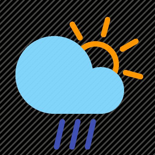 cloud, day, forecast, rain, sun, weather icon