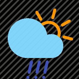 cloud, day, forecast, hail, rain, sun, weather icon