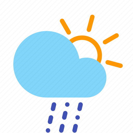 cloud, day, forecast, rain, sleet, sun, weather icon