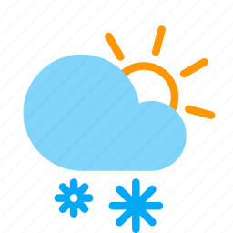 cloud, day, forecast, snow, snowflake, sun, weather icon