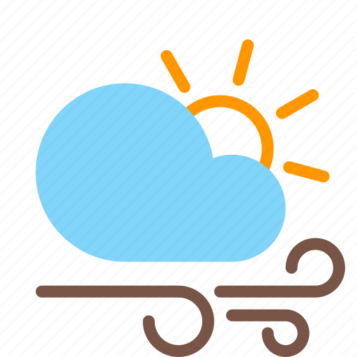 cloud, day, forecast, gusts, sun, weather, wind icon