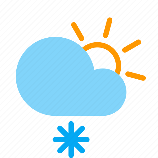 cloud, day, frosty, snow, snowflake, sun, weather icon