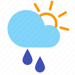 cloud, day, forecast, rain, sprinkle, sun, weather icon