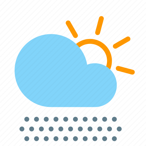 cloud, day, fog, forecast, sun, weather icon