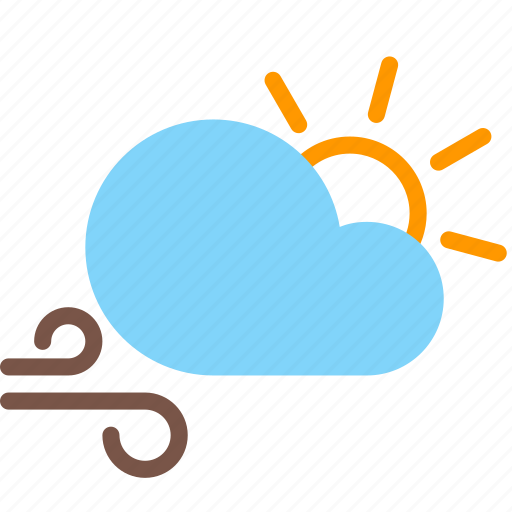 cloud, day, forecast, sun, weather, wind icon
