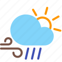 cloud, day, forecast, rain, sun, weather, wind icon