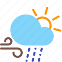 cloud, day, rain, sleet, sun, weather, wind icon