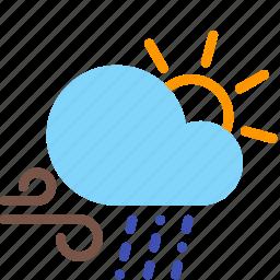 cloud, day, rain, sleet, sun, weather, wind icon