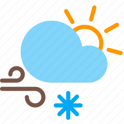 cloud, day, forecast, snow, sun, weather, wind icon