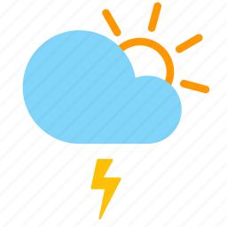 cloud, day, forecast, lightning, sun, weather icon