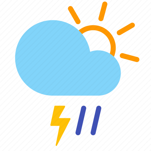 cloud, day, lightning, rain, storm, weather icon