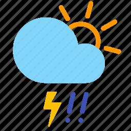 cloud, day, hail, lightning, rain, storm, weather icon