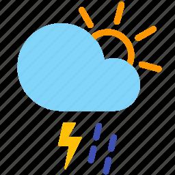 cloud, day, lightning, rain, shower, thunderstorm, weather icon