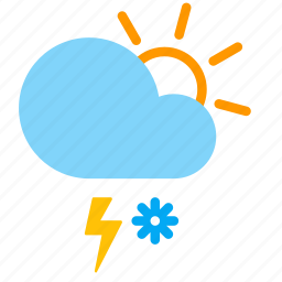 cloud, day, lightning, snow, storm, sun, weather icon