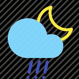 cloud, forecast, hail, moon, night, rain, weather icon