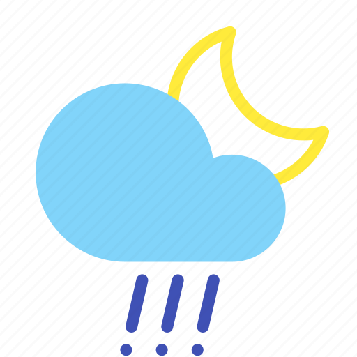 cloud, forecast, hail, moon, night, rain, weather icon