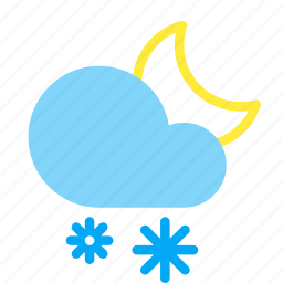 cloud, forecast, moon, night, snow, snowflake, weather icon