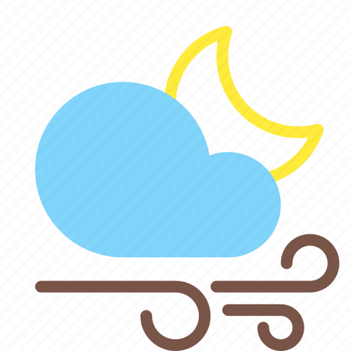 cloud, forecast, gusts, moon, night, weather, wind icon
